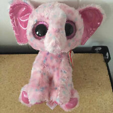 "NEW TY BEANIES BOOS  Pink Elephant Ellie MINT Stuffed doll 6"" in hand"