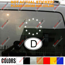 German D Oval Code Germany and EU European Union Flag Car Decal Sticker