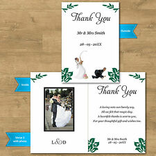 Double Sided & Folded Wedding Photo Thank You Cards Fishing Bride Groom 12 Cols