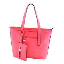Cream, Pink, or Red Leatherette Shoulder Bag