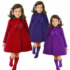 Winter Fall Kids Girls Fleece Long Wind Trench Coat Jacket Outerwear Clothes AU