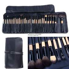 Wood Black 32Pcs Brush Brushes Professional Cosmetic Make Up Set Kit +Pouch ES9P