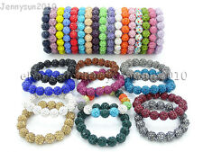 12mm Czech Crystal Rhinestones Pave Clay Round Disco Beads Stretchy Bracelet