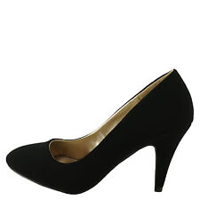 Qupid Trenda 01 Black Nubuck Women's Classic Round Toe Low Pump
