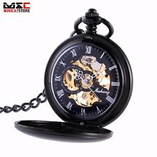 Antique Steampunk Windup Skeleton Mens Mechanical Pocket Watch Chain Gift Retro