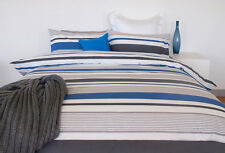 3 Pce PORTER Blue Charcoal White Stripe Reversible Quilt Cover Set QUEEN KING
