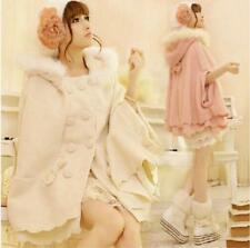 New Princess Style Womens Poncho Womens Real Fur Hooded Winter Coat Jacket Cape