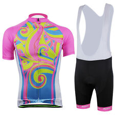 Women Cycling Bike Short Sleeve Jersey Silicone Padded Bicycle (Bib) Shorts Set