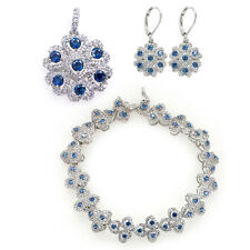 White Gold Plated Women Jewelry Set Blue Cubic Zirconia Necklace Earrings Set