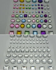 75 x Mixed Self Adhesive Rhinestone Topper Shapes in Clear or Mixed Colours
