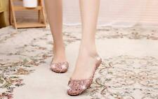 Size 5-9 Hot Sale Womens Flat Ventilate Crystal Shoes Jelly Hollow Sandals Shoes