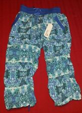NWT WOMEN'S KYODAN ATHLETIC YOGA RUCHED CARGO CAPRI STUDIO PANTS Blue/Aqua/Teal