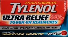 Tylenol Ultra Relief Tough on Headaches Tension Headache-Migraine Pain 20 Tabs