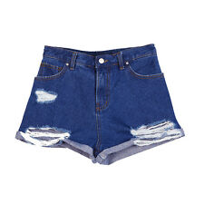 New Ladies High Waisted Ripped Distressed Denim Jean Shorts Hot Pants UK 6-16