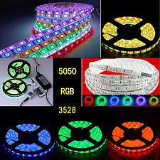 5M 3528 5050 5630 SMD Flexible 300/600 LEDs Strip Light + Remote + Power Adapter