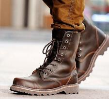 Mens genuine leather Military combat work High ankle Boot shoes black brown new