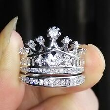 Jewelry Silver/Gold filled white Topaz Gemstones Wedding Crown Ring Set Size 5-9