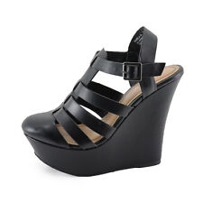 Bamboo Pamela 34 Black Women's Strappy Fisherman Platform Wedges