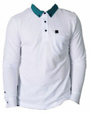 MENS VOI JEANS PK POLO LONG SLEEVE SHIRT VINCE PATTERN ON COLLAR - WHITE