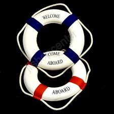 Lifebuoy Decor 32 cm Nautical Welcome Home Wall Hanging Decoration Red Blue
