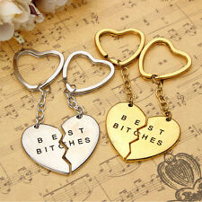 2Pcs Best Bitches Engraved Friendship Key Chain Ring Heart Keyring Keyfob Gift