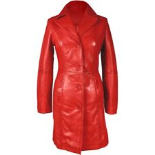 Sexy Ladies Real RED Nappa Sheep Leather Steampunk Goth Style Trench Coat -T16R