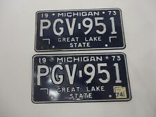 1973 MICHIGAN STATE LICENSE PLATES MATCHED SET PGV-951 FORD CHEVY PONTIAC DODGE