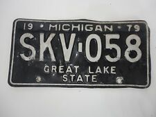 1979 MICHIGAN STATE LICENSE PLATE SKV-058 FORD CHEVY PONTIAC DODGE GREAT LAKE