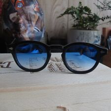 Retro glasses frames Vintage Johnny Depp sunglasses gradient greyblue lens