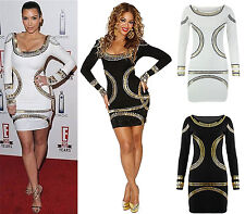NEW WOMENS LADIES CELEB KIM KARDASHIAN GOLD FOIL BODYCON MIDI DRESS PLUS SIZE