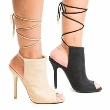 Adele229 Women / Ladies High Heel Peep Toe Open Back Lace Up Ankle Bootie Sandal