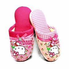 Pink Checked Hello Kitty Open back slippers Girls