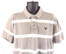 MENS AMERICAN EAGLE SHORT SLEEVE POLO SHIRT SZ XL ATHLETIC FIT GRAY STRIPED