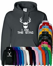 Mens Boy Unisex I Am The Stag Hooded Sweatshirt Pullover Sweat Hoody All Sizes