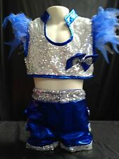 Blue and silver sequin top and shorts jazz,tap, hip hop dance costume brand new