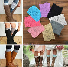 Women Comfort New Stretch Warmers Lace Boot Cuffs Leg Trim Toppers Socks Flower