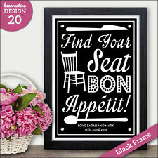 PERSONALISED Seating Plan Wedding Signs - Find Your Seat Bon Appetit - Vintage