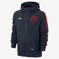 NIKE FC BARCELONA AW77 COVERT FULL ZIP HOODIE Obsidian/Team Red/Tour Yellow