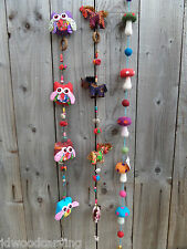 Fair Trade Hand Made String Of Horses Mushrooms Owls Windchime Wind Chime Mobile