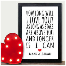 PERSONALISED Valentines Gifts - Why I Love You Gift - Him Her Husband Wife