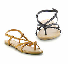 Beston EA66 Women's Thong Toe Strappy Ankle Strap Slingback Flat Sandals
