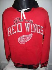 DETROIT RED WINGS 3 Color Full Zip Hoody w/ Screened & Sewn Logos M  XL RED