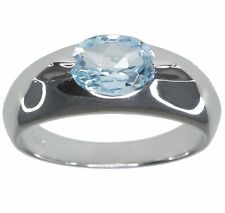 Sky Blue Topaz Gemstone 1.40 carat Oval Solitaire Sterling Silver Ring size N
