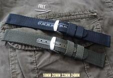 REPLACEMENT NYLON CANVAS STRAP WATCH BAND TO FIT SEIKO BLACK GREEN ARMY MILITARY