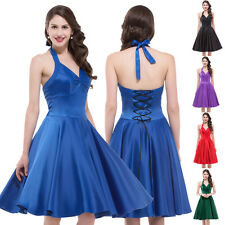 Womens Vintage 50s Swing Dress Satin Halter Evening Prom Party Dress