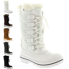 Womens Snow Boot Nylon Tall Winter Fur Lined Snow Warm Quilted Rain Boot 5-10