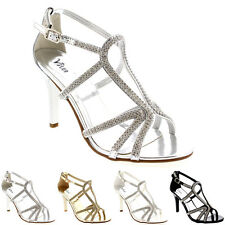 Womens Bridal Bridesmaid Prom Stiletto Wedding Party Pumps Heel Sandals US 5-11