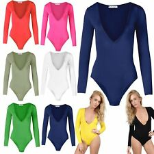 Womens Ladies Long Sleeve Plunge V Neck Stretchy Plain Bodysuit Leotard Top 8-22
