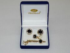 Mens Cuff Links Set Fratello Hand Crafted European Classic  Gold Black CPT738A