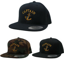 FLEXFIT Captain with Ships Anchor Embroidered Flat Bill Snapback Cap